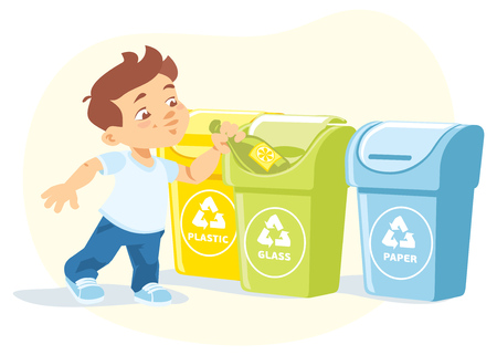 illustration of a little boy recycling garbage bottle