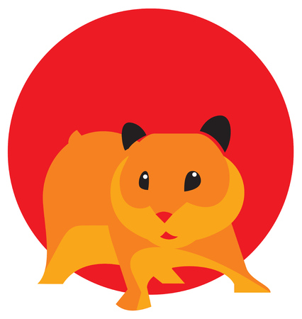 laconic: laconic illutsration of cute brown hamster. on red background