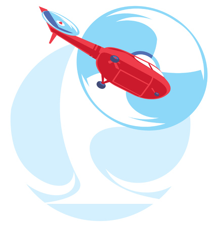 illustration of flat red helicopter fly. in air