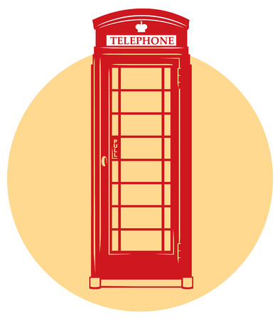 telephone booth: monochromaric icon of London red telephone booth Stock Photo