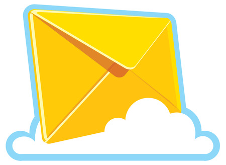 yellow letter on a cloud. realistic icon