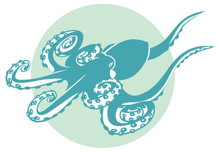 isles: monochromatic green illustration of a octopus. squid Stock Photo