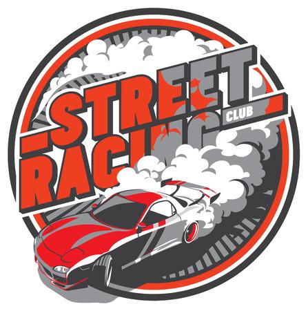 Burnout voiture, dérive japonaise sport, courses de rue Banque d'images - 70269211
