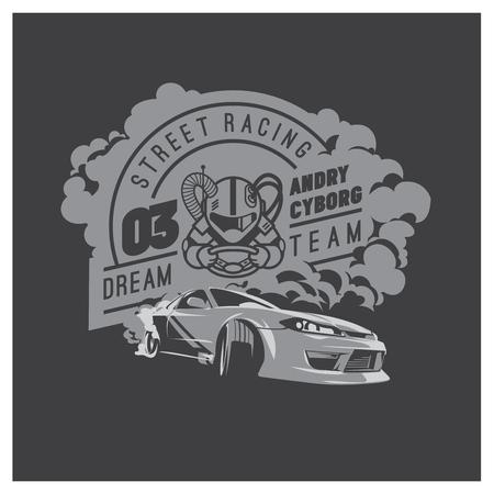 バーンアウトの車、日本のドリフト スポーツ、ストリート レース  イラスト・ベクター素材