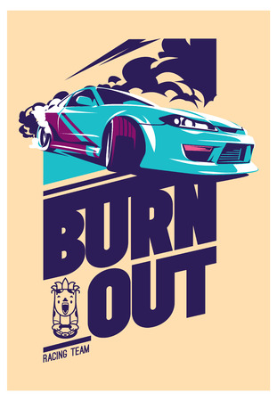 Burnout auto, Japanse drift sport, straat racen Stock Illustratie