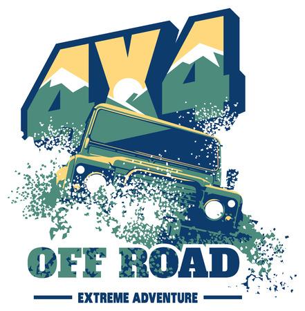 Off-road car logo, safari suv, expedition offroader. Reklamní fotografie - 71635302