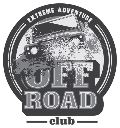 logo al lado del camino, suv safari, offroader expedición. Logos