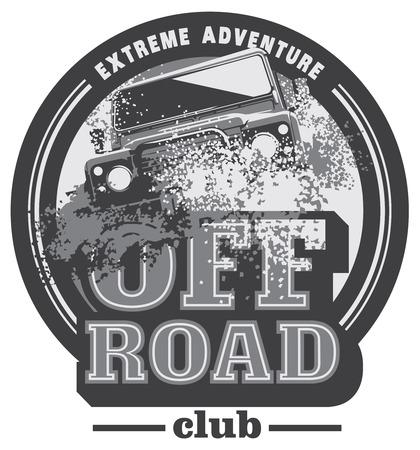 Off-road car logo, safari suv, expedition offroader. Reklamní fotografie - 71635848