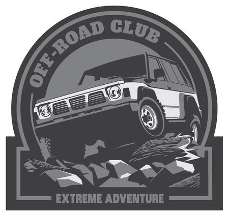 car: Off-road car logo, safari suv, expedition offroader.