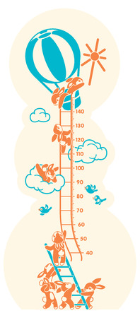 Height charts. Sunbeams, Meter wall or height meter from 40 to 140 centimeter. Stock Photo