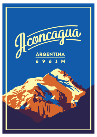 Aconcagua in Andes, Argentina outdoor adventure poster. High mountain illustration.