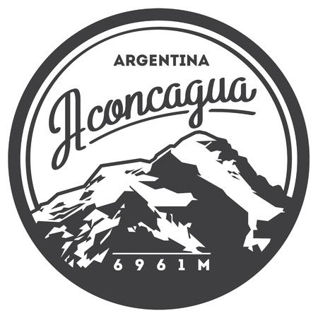 aconcagua: Aconcagua in Andes, Argentina outdoor adventure badge. High mountain illustration.