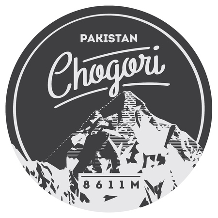 K2 in Karakoram, Pakistan outdoor adventure badge. Chogory mountain illustration.