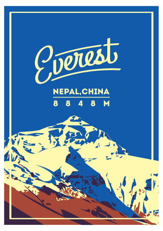 Everest in Himalayas, Nepal, China outdoor adventure poster. Chomolungma higest mountain on Earth. Climbing, trekking, hiking, mountaineering and other extreme activities.