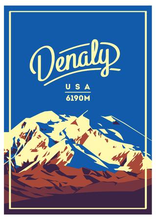 Denali in Alaska Range, North America, USA outdoor adventure poster. McKinley mountain illustration.