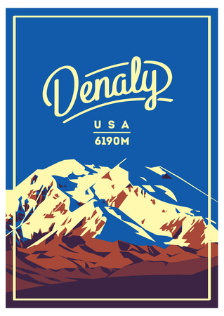 Denali in Alaska Range, North America, USA outdoor adventure poster. McKinley mountain illustration.