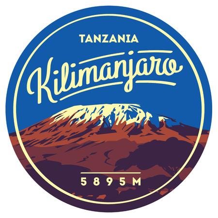 Mount Kilimanjaro in Africa, Tanzania outdoor avontuur badge. Hoogste vulkaan op de illustratie van de Aarde. Stock Illustratie