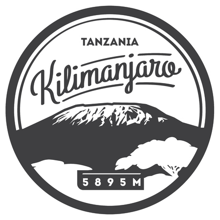 Mount Kilimanjaro in Africa, Tanzania outdoor adventure badge. Higest volcano on Earth illustration.