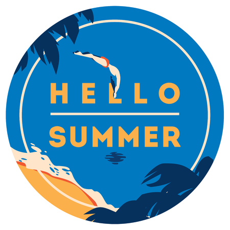 swiming: Summer Holiday and Summer Camp poster.