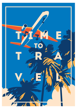 Zeit zum Reisen und Sommer Urlaubsplakat.
