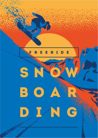 Freeride snowboarder in motion. Sport poster or emblem
