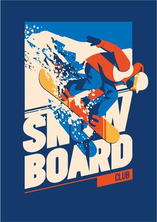 Freeride 스노 모션입니다. 스포츠 포스터 또는 상징 일러스트