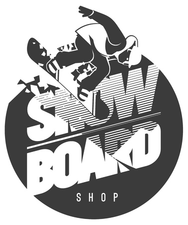 Flat minialistic vector emblem with Snowboarder in motion on snow. Extreme badge or sport logo Illustration