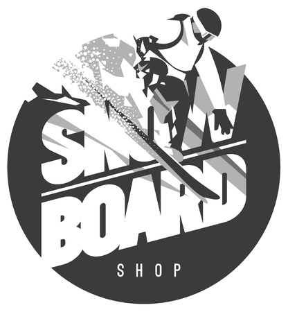 Snowboard shop emblem vector illustration Illustration