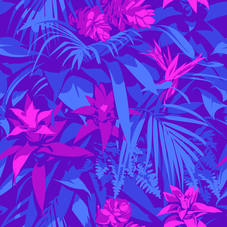 Seamless Ultraviolet Hawaiian tropical pattern with, palm leaves and flowers. Иллюстрация