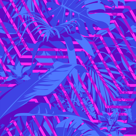 Seamless Ultraviolet Hawaiian tropical pattern with, palm leaves and flowers. Vectores