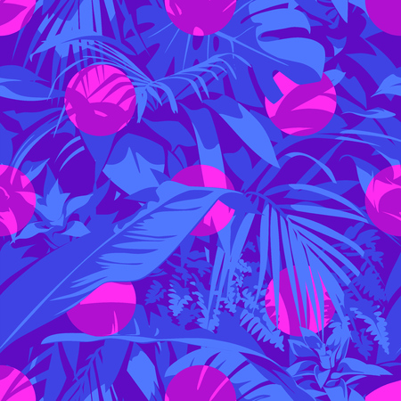 Seamless Ultraviolet Hawaiian tropical pattern with, palm leaves and flowers. Vector illustration.