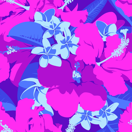 Seamless Ultraviolet Hawaiian tropical pattern with, palm leaves and flowers. Illustration