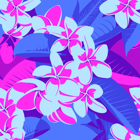 Seamless Ultraviolet Hawaiian tropical pattern with, palm leaves and flowers. Foto de archivo