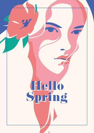 Hello Spring romantic poster.