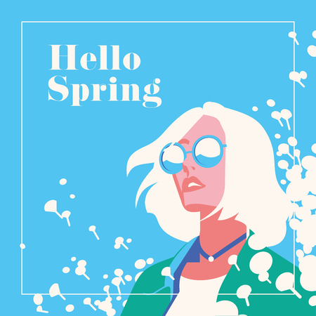 Hello Spring banner or flyer. Fashion portrait of a beautiful girl with flowers. Vector flat minimalistic illustration in punchy pastels color.