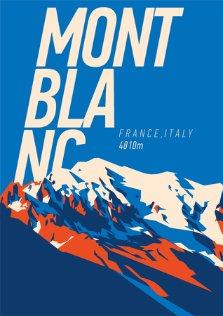 MontBlanc in Alps, France, Italy outdoor adventure poster. Higest mountain in Europe illustration.