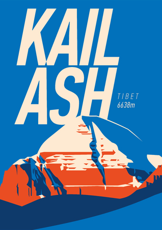 Blue mount Kailash poster with a mountain illustration. Фото со стока - 97497717