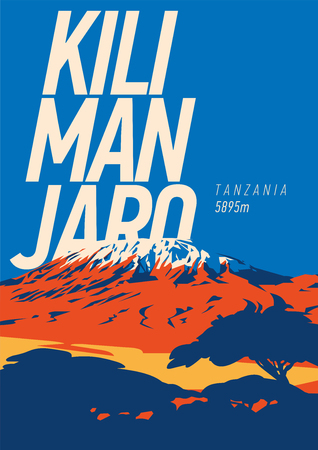 Mount Kilimanjaro in Africa, Tanzania outdoor adventure poster. Higest volcano on Earth illustration.