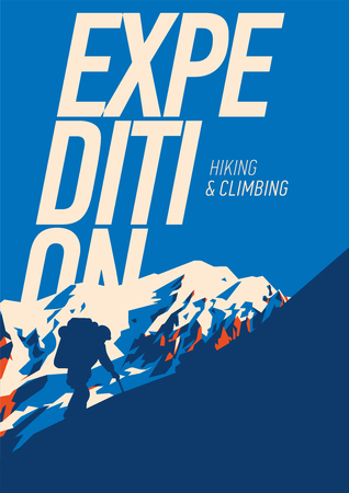 Extreme outdoor adventure poster. High mountains illustration. Illustration