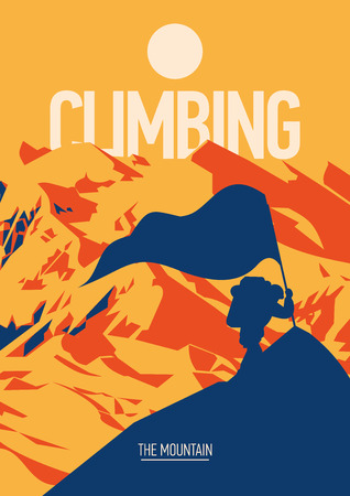 Extreme outdoor adventure poster. Climber on peak with a red flag at sunset.