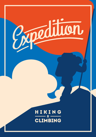 Extreme outdoor adventure poster. Climber on peak with a red flag. Illustration