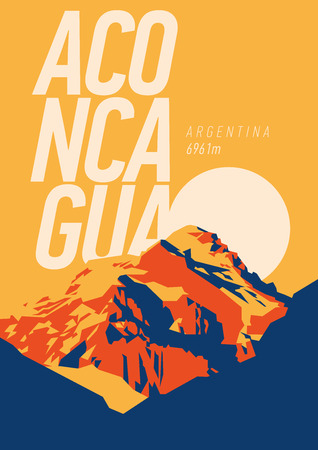 Aconcagua in Andes, Argentina outdoor adventure poster. High mountain at sunset illustration.