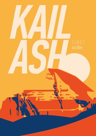 Mount Kailash in Himalayas, Tibet outdoor adventure poster. mountain at sunset illustration.