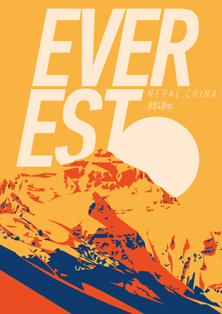Everest in Himalayas, Nepal, China outdoor adventure poster. Chomolungma higest mountain on Earth. 向量圖像