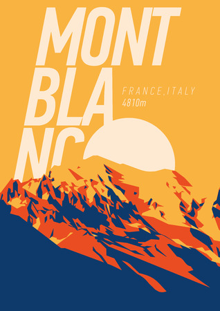 MontBlanc in Alps, France, Italy outdoor adventure poster. Higest mountain in Europe at sunset illustration.
