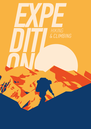 Extreme outdoor adventure poster. High mountains at sunset illustration. Иллюстрация