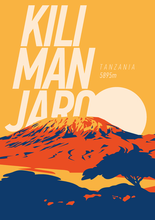 Mount Kilimanjaro in Africa, Tanzania outdoor adventure poster. Higest volcano on Earth.