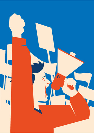 Man holds a loudspeaker in hand. Demonstration with banners flat illustration.