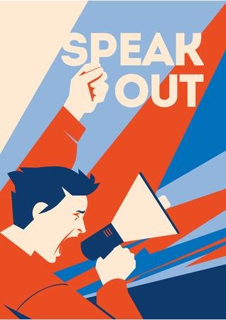 El hombre tiene un altavoz en la mano. Manifestante hablando por megáfono. Ilustración de vector plano, cartel o banner. Ilustración de vector