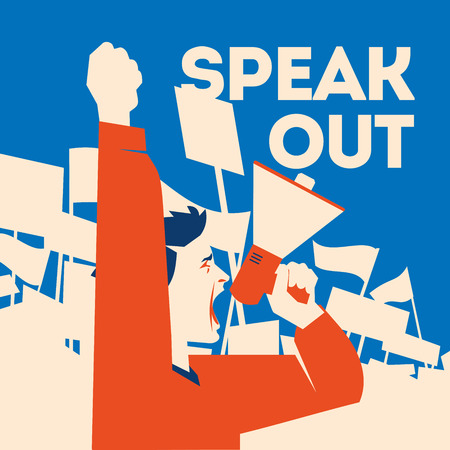 Man holds a loudspeaker in hand. Demonstration with banners flat illustration. Imagens - 97838745